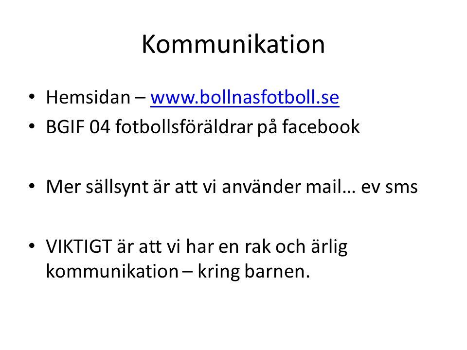 Kommunikation Hemsidan – www.bollnasfotboll.sewww.bollnasfotboll.se BGIF 04 fotbollsföräldrar på facebook Mer sällsynt är att vi använder mail… ev sms VIKTIGT är att vi har en rak och ärlig kommunikation – kring barnen.