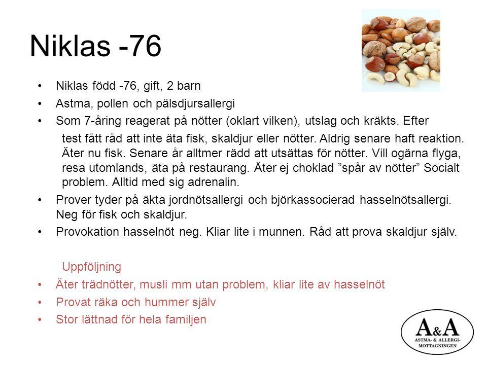 Niklas -76 Niklas född -76, gift, 2 barn Astma, pollen och pälsdjursallergi Som 7-åring reagerat på nötter (oklart vilken), utslag och kräkts. Efter t