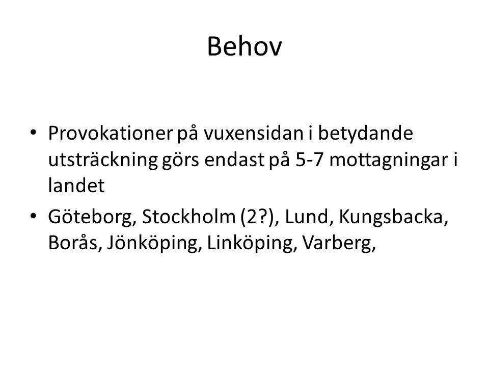 Behov Provokationer på vuxensidan i betydande utsträckning görs endast på 5-7 mottagningar i landet Göteborg, Stockholm (2?), Lund, Kungsbacka, Borås,