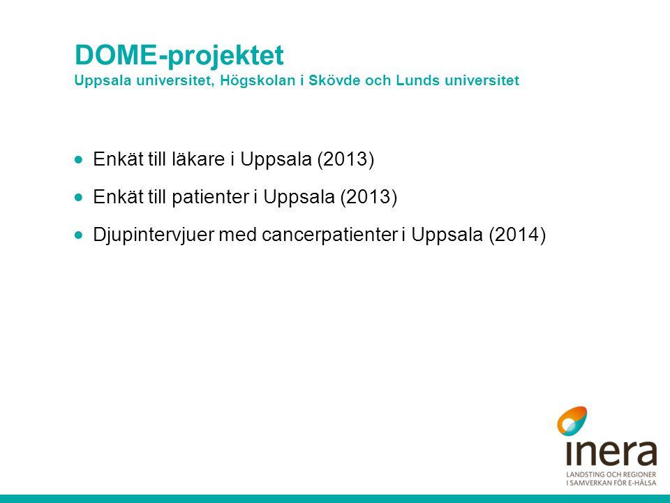 DOME-projektet Uppsala universitet, Högskolan i Skövde och Lunds universitet  Enkät till läkare i Uppsala (2013)  Enkät till patienter i Uppsala (2013)  Djupintervjuer med cancerpatienter i Uppsala (2014)