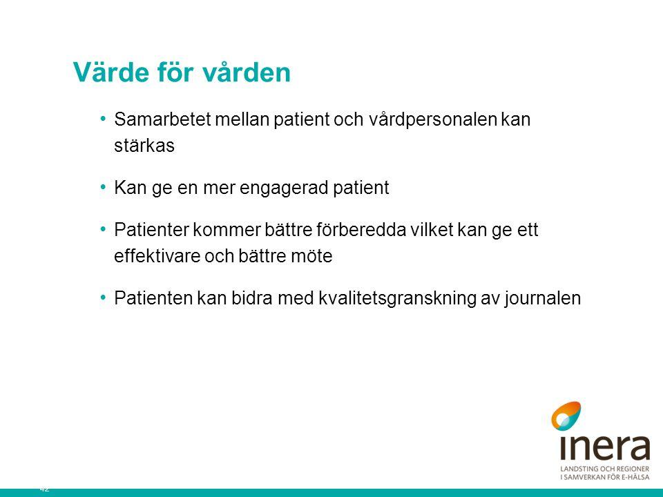 42 Värde för vården Samarbetet mellan patient och vårdpersonalen kan stärkas Kan ge en mer engagerad patient Patienter kommer bättre förberedda vilket kan ge ett effektivare och bättre möte Patienten kan bidra med kvalitetsgranskning av journalen