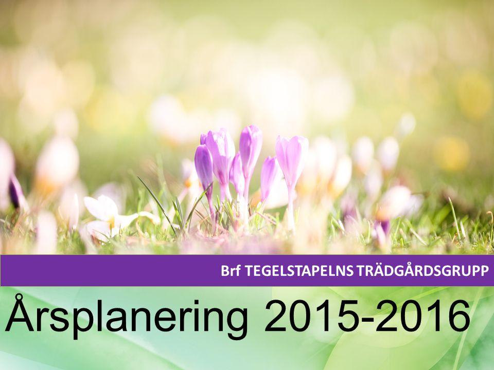 Brf TEGELSTAPELNS TRÄDGÅRDSGRUPP Årsplanering 2015-2016