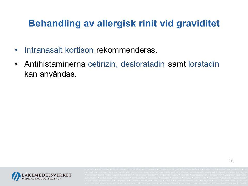Behandling av allergisk rinit vid graviditet Intranasalt kortison rekommenderas. Antihistaminerna cetirizin, desloratadin samt loratadin kan användas.