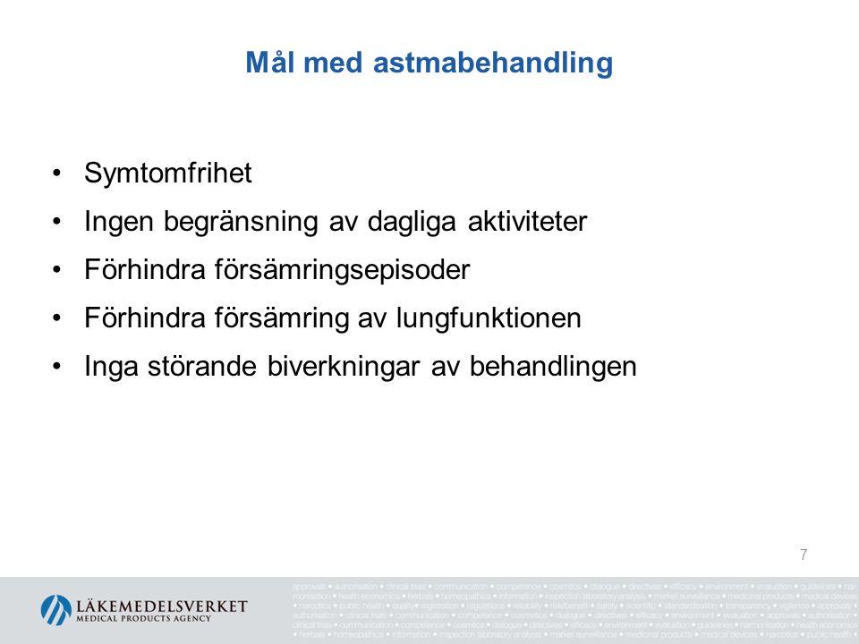 Mål med astmabehandling Symtomfrihet Ingen begränsning av dagliga aktiviteter Förhindra försämringsepisoder Förhindra försämring av lungfunktionen Ing