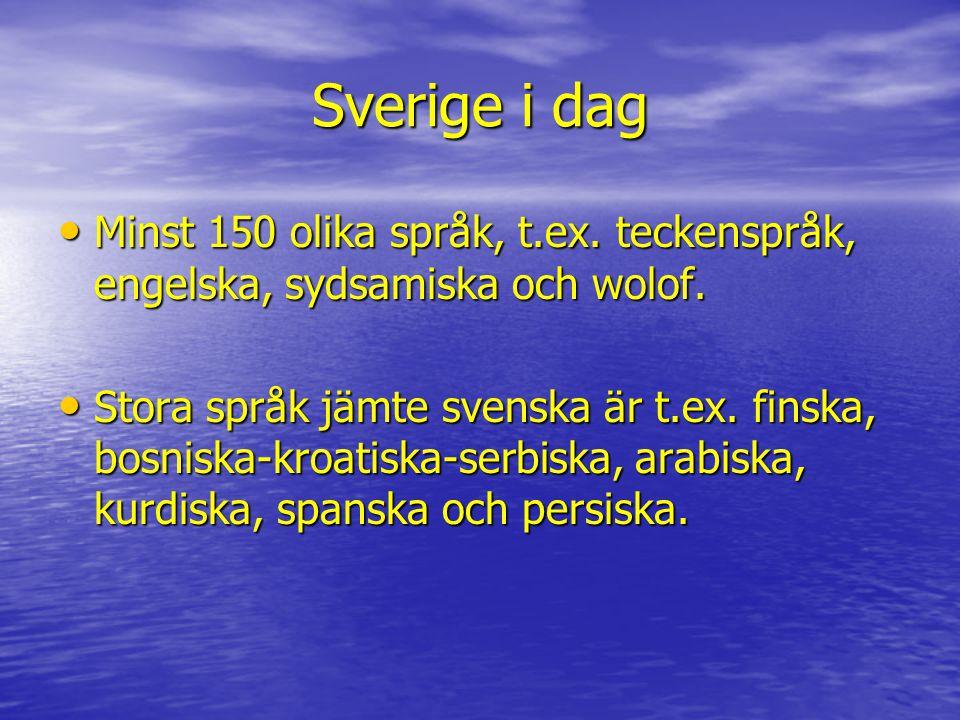 Sverige i dag Minst 150 olika språk, t.ex. teckenspråk, engelska, sydsamiska och wolof. Minst 150 olika språk, t.ex. teckenspråk, engelska, sydsamiska