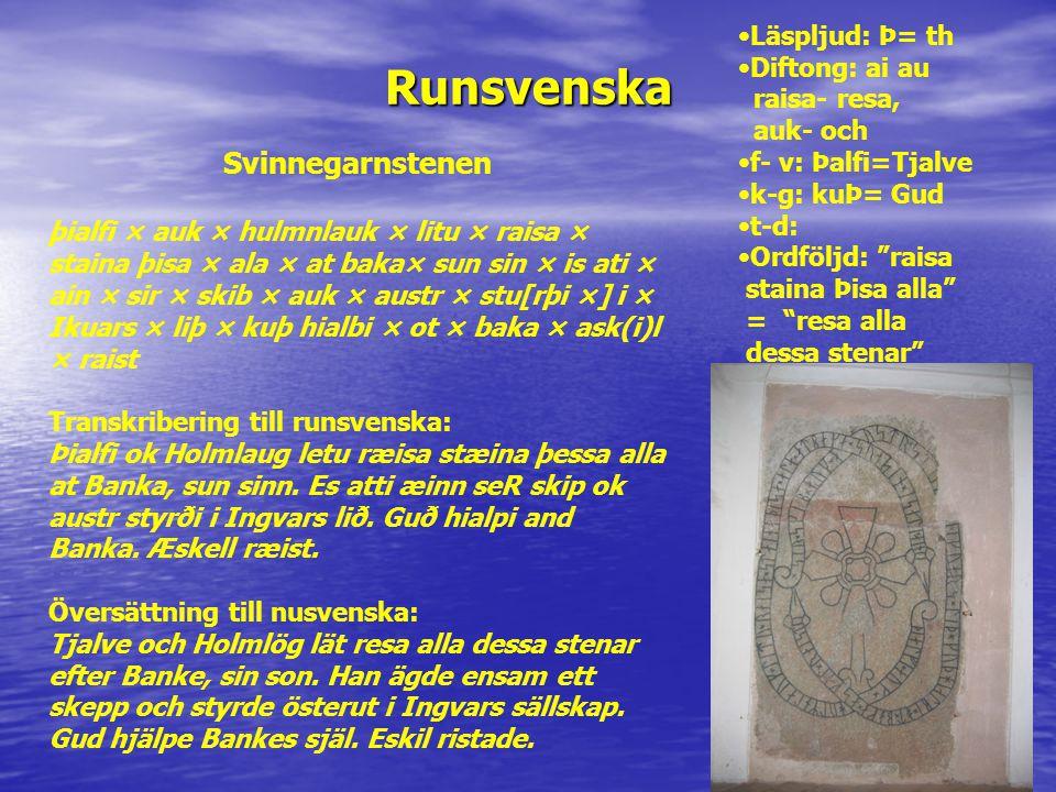 Runsvenska Svinnegarnstenen þialfi × auk × hulmnlauk × litu × raisa × staina þisa × ala × at baka× sun sin × is ati × ain × sir × skib × auk × austr ×