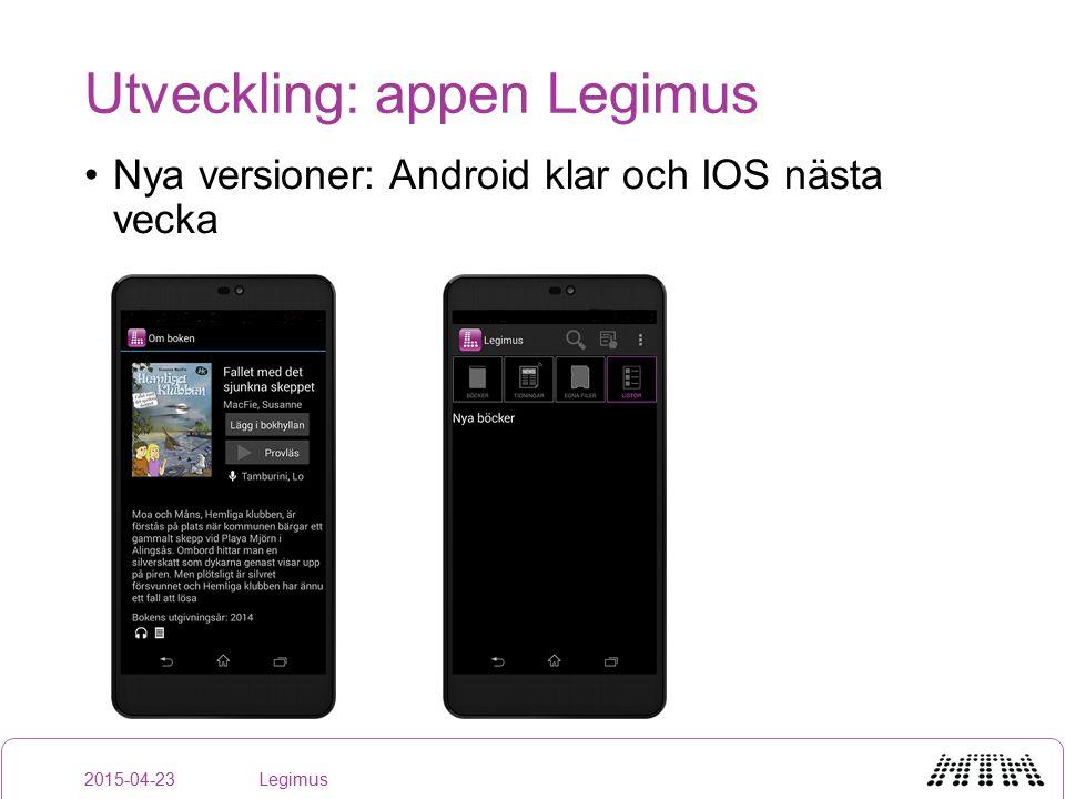 Utveckling: appen Legimus Nya versioner: Android klar och IOS nästa vecka 2015-04-23Legimus