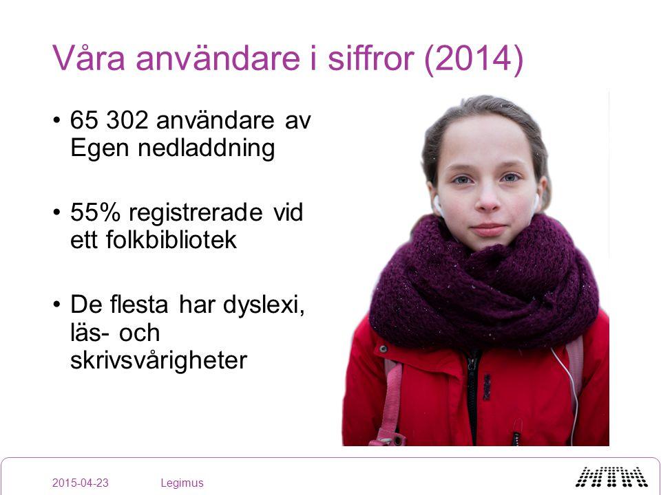Utveckling: legimus.se Ny design Förbättrat sökresultat Omarbeta information till bibliotek Se över nedladdningsalternativen Förstudie strömmande läsning 2015-04-23Legimus