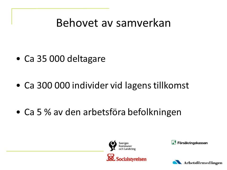 Behovet av samverkan Ca 35 000 deltagare Ca 300 000 individer vid lagens tillkomst Ca 5 % av den arbetsföra befolkningen