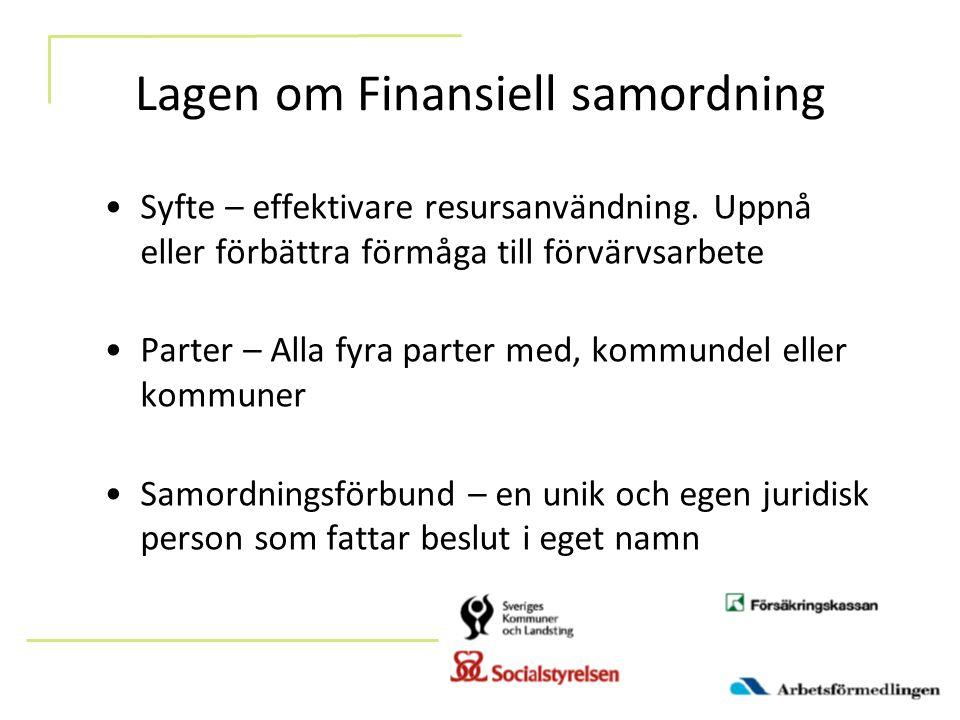 Lagen om Finansiell samordning Syfte – effektivare resursanvändning. Uppnå eller förbättra förmåga till förvärvsarbete Parter – Alla fyra parter med,