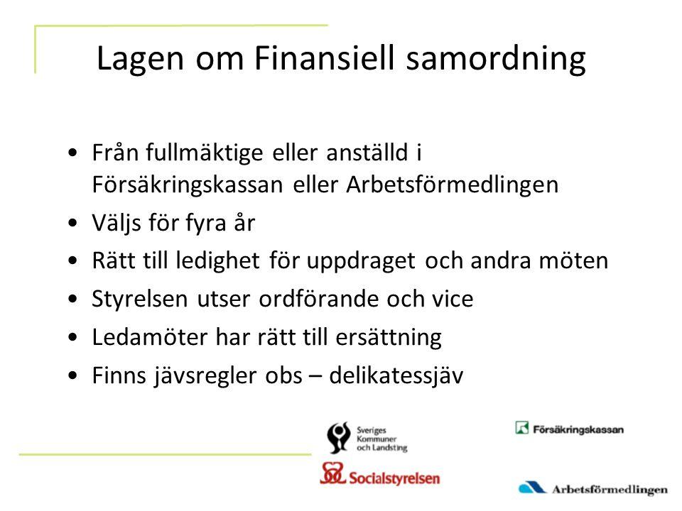 Lagen om Finansiell samordning Från fullmäktige eller anställd i Försäkringskassan eller Arbetsförmedlingen Väljs för fyra år Rätt till ledighet för u