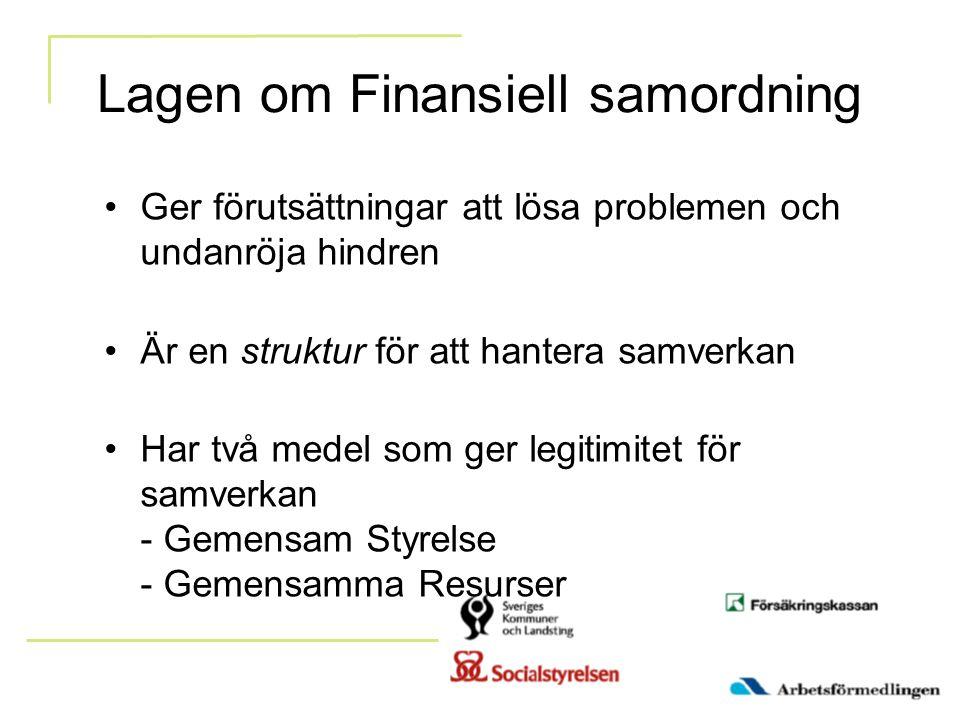Lagen om Finansiell samordning Ger förutsättningar att lösa problemen och undanröja hindren Är en struktur för att hantera samverkan Har två medel som