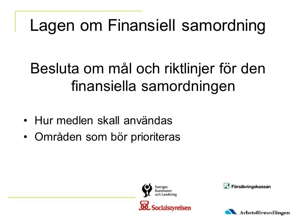 Lagen om Finansiell samordning Besluta om mål och riktlinjer för den finansiella samordningen Hur medlen skall användas Områden som bör prioriteras