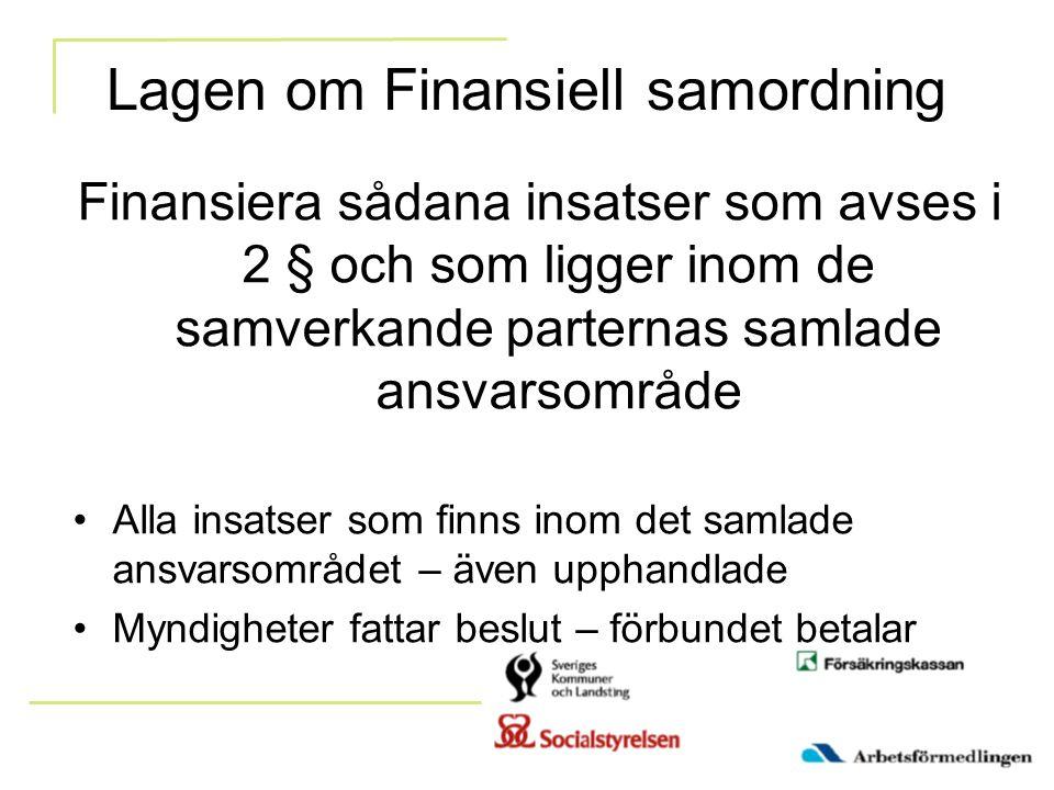 Lagen om Finansiell samordning Finansiera sådana insatser som avses i 2 § och som ligger inom de samverkande parternas samlade ansvarsområde Alla insa