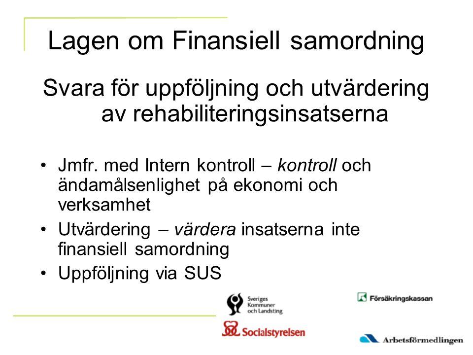 Lagen om Finansiell samordning Svara för uppföljning och utvärdering av rehabiliteringsinsatserna Jmfr. med Intern kontroll – kontroll och ändamålsenl