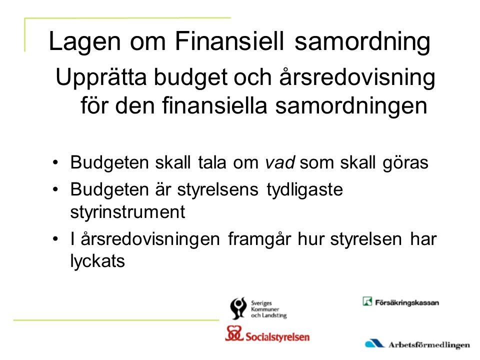 Lagen om Finansiell samordning Upprätta budget och årsredovisning för den finansiella samordningen Budgeten skall tala om vad som skall göras Budgeten