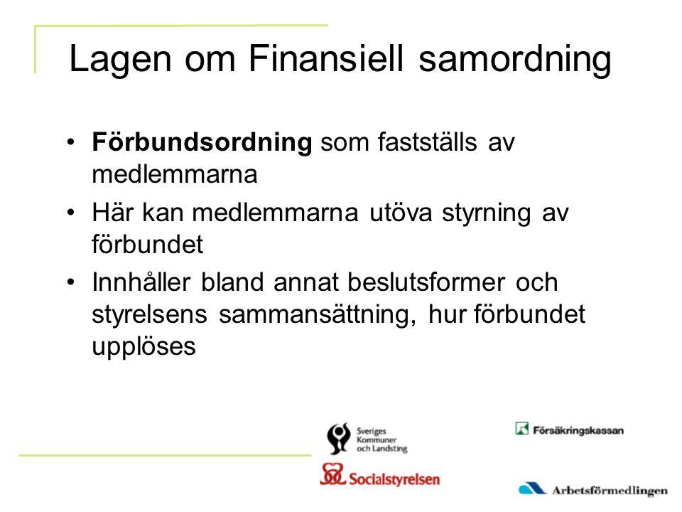 Lagen om Finansiell samordning Förbundsordning som fastställs av medlemmarna Här kan medlemmarna utöva styrning av förbundet Innhåller bland annat bes