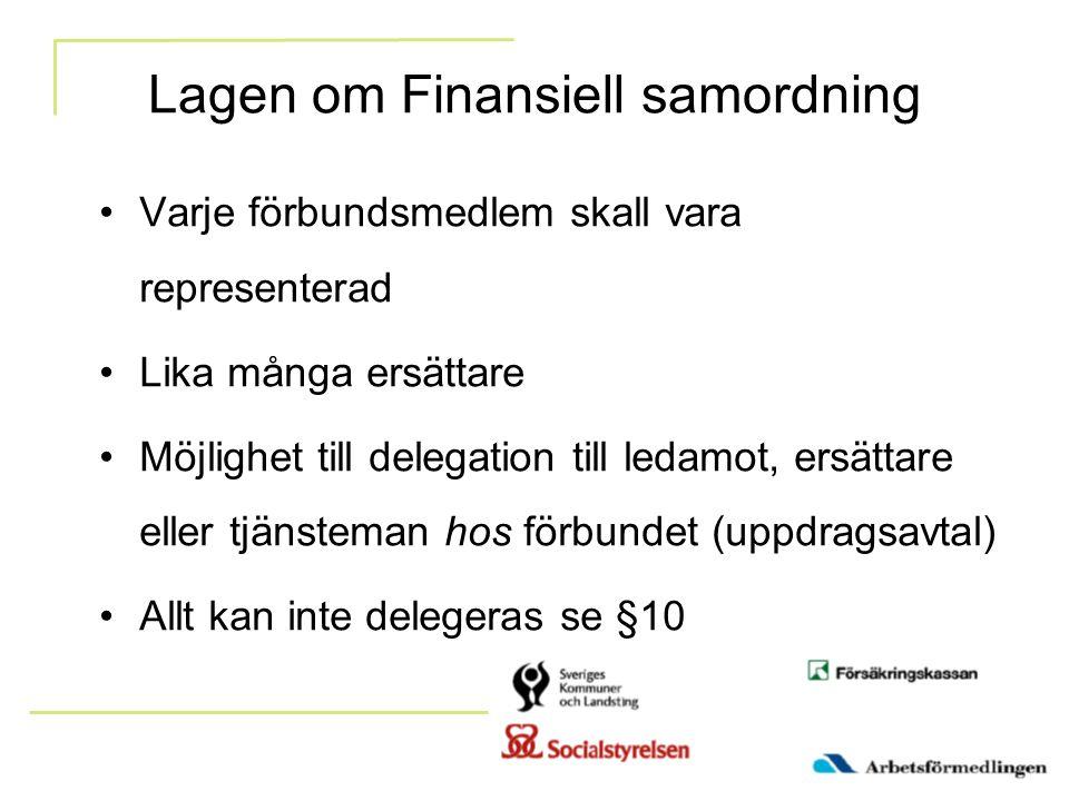 Lagen om Finansiell samordning Varje förbundsmedlem skall vara representerad Lika många ersättare Möjlighet till delegation till ledamot, ersättare el