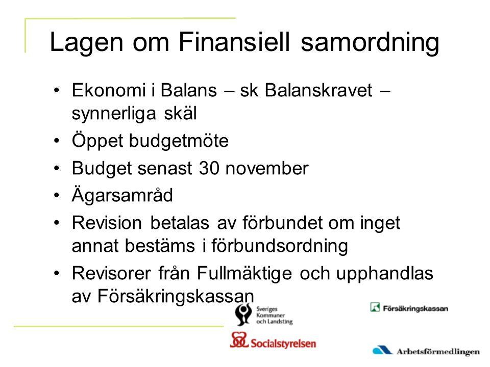 Lagen om Finansiell samordning Ekonomi i Balans – sk Balanskravet – synnerliga skäl Öppet budgetmöte Budget senast 30 november Ägarsamråd Revision bet