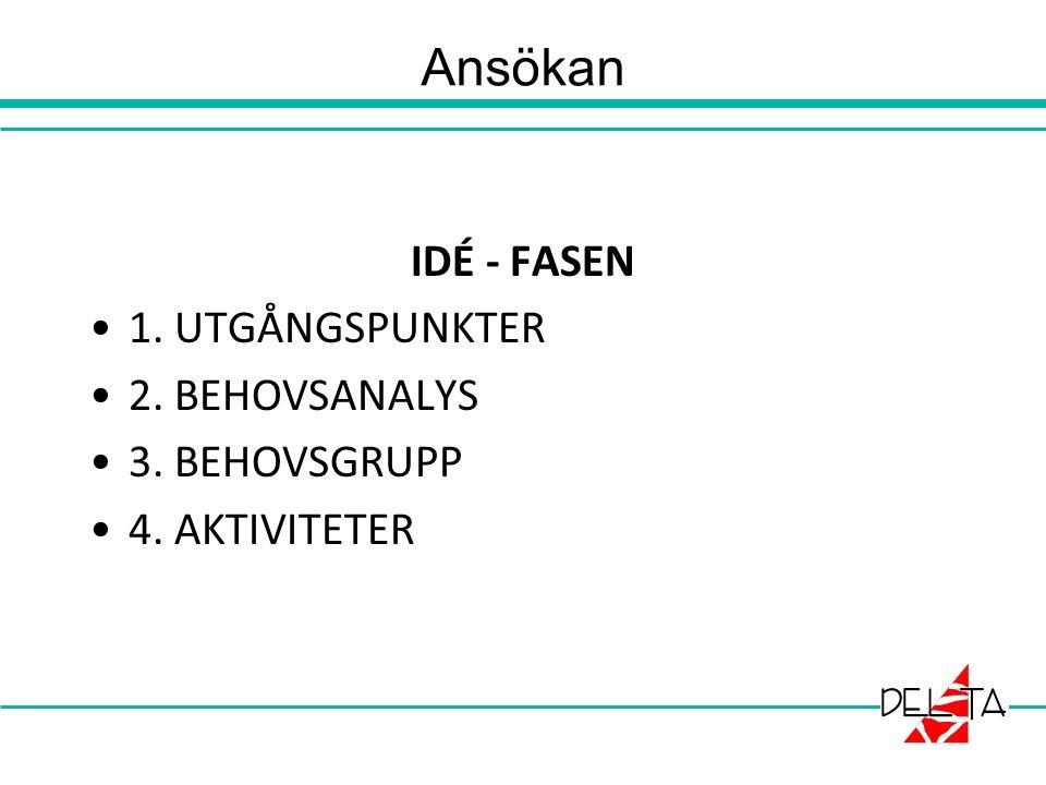 IDÉ - FASEN 1. UTGÅNGSPUNKTER 2. BEHOVSANALYS 3. BEHOVSGRUPP 4. AKTIVITETER