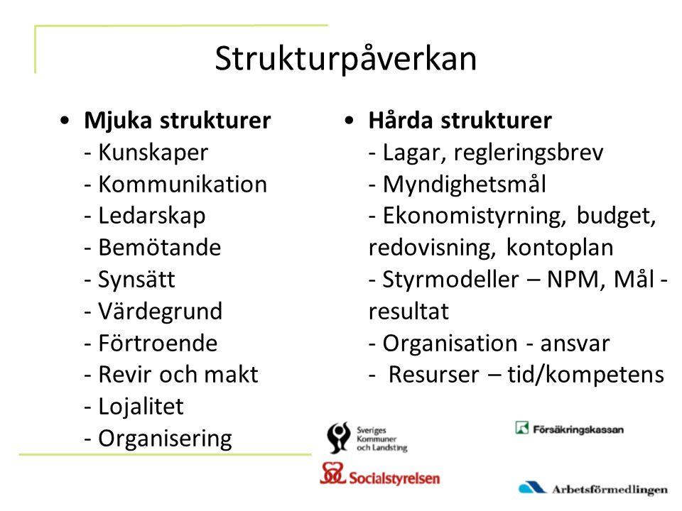 Mjuka strukturer - Kunskaper - Kommunikation - Ledarskap - Bemötande - Synsätt - Värdegrund - Förtroende - Revir och makt - Lojalitet - Organisering H