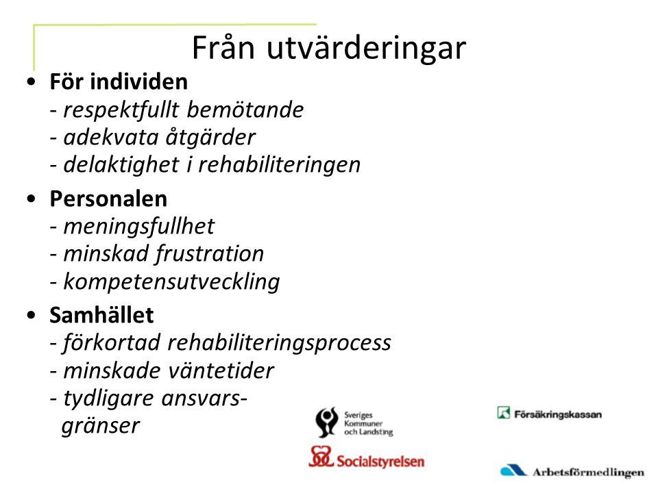 Från utvärderingar För individen - respektfullt bemötande - adekvata åtgärder - delaktighet i rehabiliteringen Personalen - meningsfullhet - minskad f