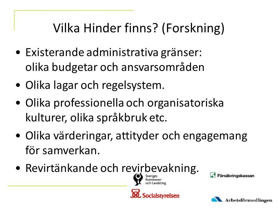 Vilka Hinder finns? (Forskning) Existerande administrativa gränser: olika budgetar och ansvarsområden Olika lagar och regelsystem. Olika professionell