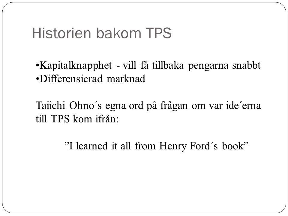 Historien bakom TPS Kapitalknapphet - vill få tillbaka pengarna snabbt Differensierad marknad Taiichi Ohno´s egna ord på frågan om var ide´erna till T