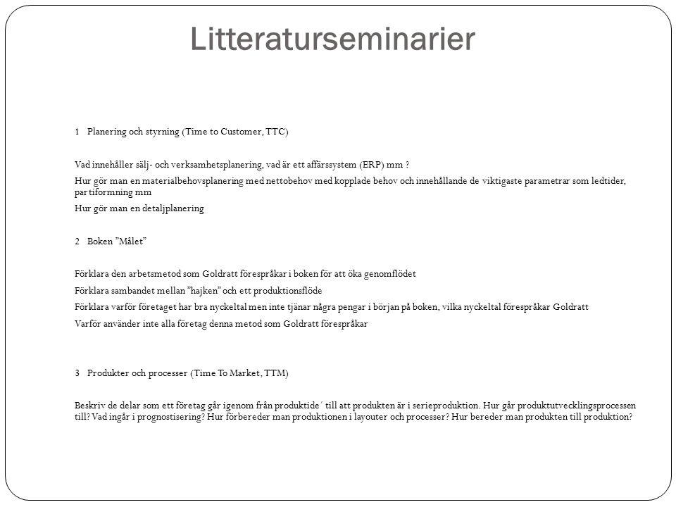 Litteraturseminarier 1 Planering och styrning (Time to Customer, TTC) Vad innehåller sälj- och verksamhetsplanering, vad är ett affärssystem (ERP) mm