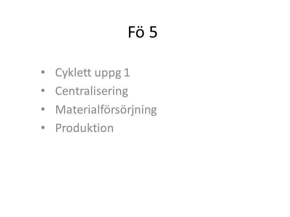 Fö 5 Cyklett uppg 1 Centralisering Materialförsörjning Produktion
