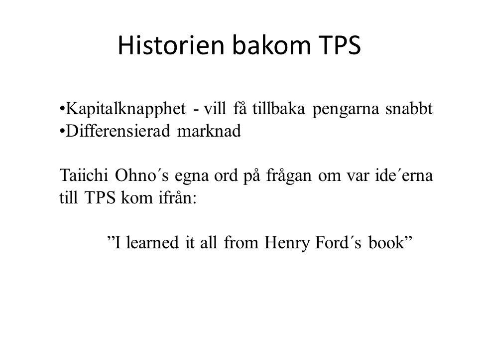 Historien bakom TPS Kapitalknapphet - vill få tillbaka pengarna snabbt Differensierad marknad Taiichi Ohno´s egna ord på frågan om var ide´erna till TPS kom ifrån: I learned it all from Henry Ford´s book
