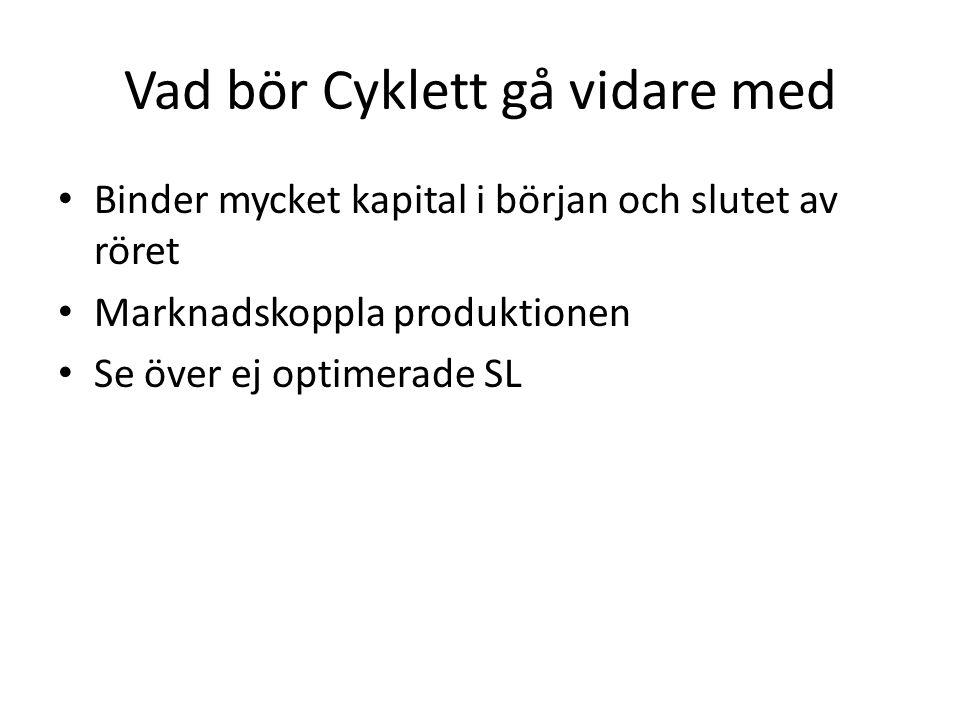 Vad bör Cyklett gå vidare med Binder mycket kapital i början och slutet av röret Marknadskoppla produktionen Se över ej optimerade SL