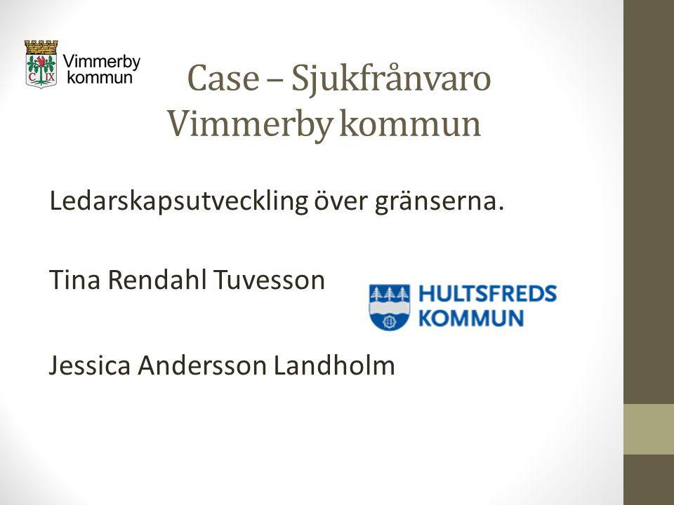 Case – Sjukfrånvaro Vimmerby kommun Ledarskapsutveckling över gränserna. Tina Rendahl Tuvesson Jessica Andersson Landholm