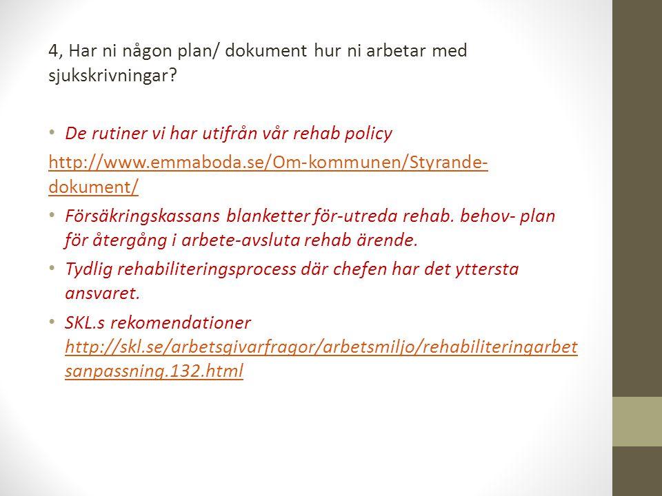 4, Har ni någon plan/ dokument hur ni arbetar med sjukskrivningar? De rutiner vi har utifrån vår rehab policy http://www.emmaboda.se/Om-kommunen/Styra