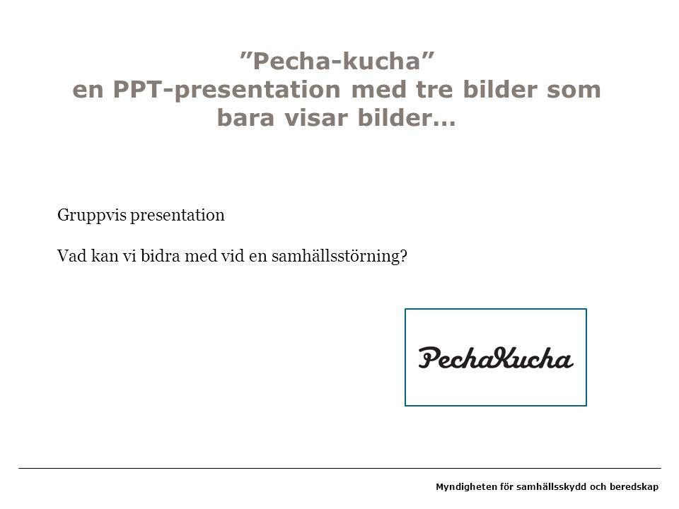 """Myndigheten för samhällsskydd och beredskap """"Pecha-kucha"""" en PPT-presentation med tre bilder som bara visar bilder… Gruppvis presentation Vad kan vi b"""