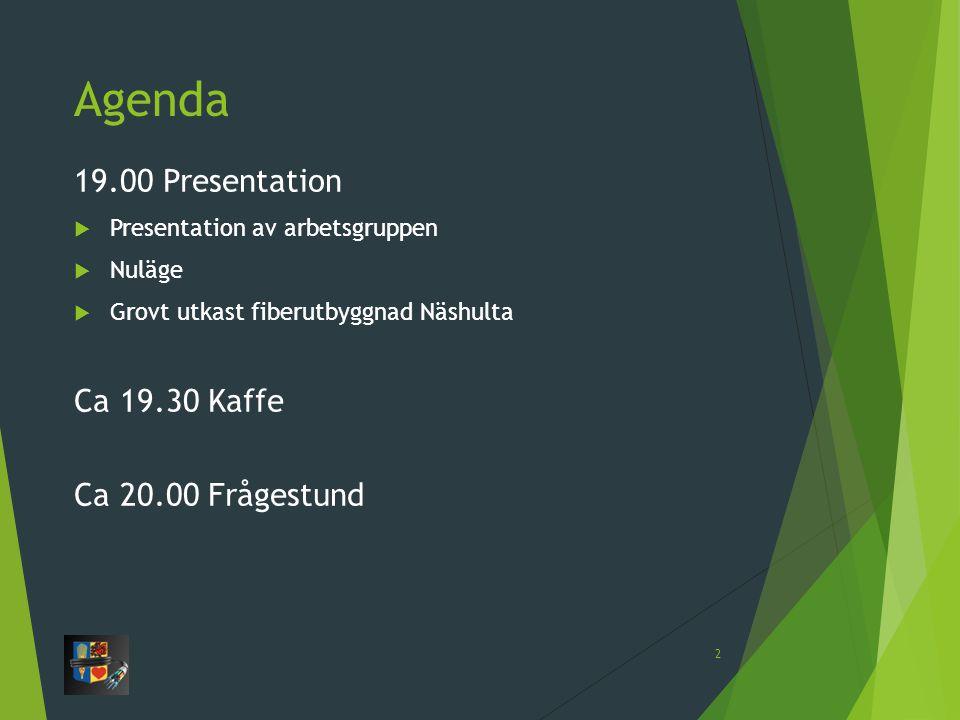 Agenda 19.00 Presentation  Presentation av arbetsgruppen  Nuläge  Grovt utkast fiberutbyggnad Näshulta Ca 19.30 Kaffe Ca 20.00 Frågestund 2