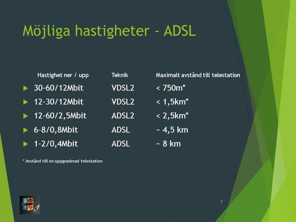 Möjliga hastigheter - ADSL Hastighet ner / uppTeknik Maximalt avstånd till telestation  30-60/12Mbit VDSL2 < 750m*  12-30/12Mbit VDSL2 < 1,5km*  12-60/2,5Mbit ADSL2< 2,5km*  6-8/0,8Mbit ADSL~ 4,5 km  1-2/0,4Mbit ADSL~ 8 km * Avstånd till en uppgraderad telestation 8