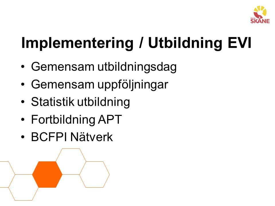 Implementering / Utbildning EVI Gemensam utbildningsdag Gemensam uppföljningar Statistik utbildning Fortbildning APT BCFPI Nätverk