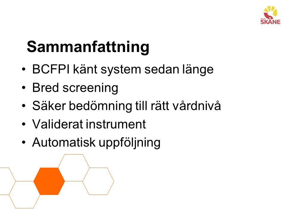 Sammanfattning BCFPI känt system sedan länge Bred screening Säker bedömning till rätt vårdnivå Validerat instrument Automatisk uppföljning