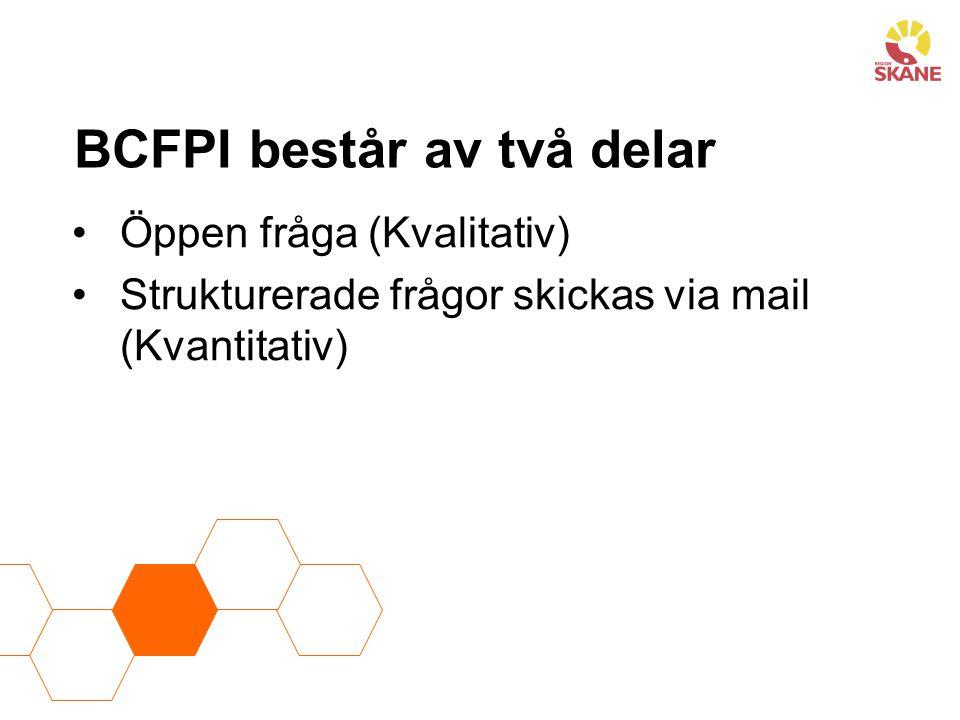 Automatisk uppföljning av BCFPI 6 mån 12 mån 18 mån 24 mån Det finns även möjlighet att stoppa kommande utvärderings mail.