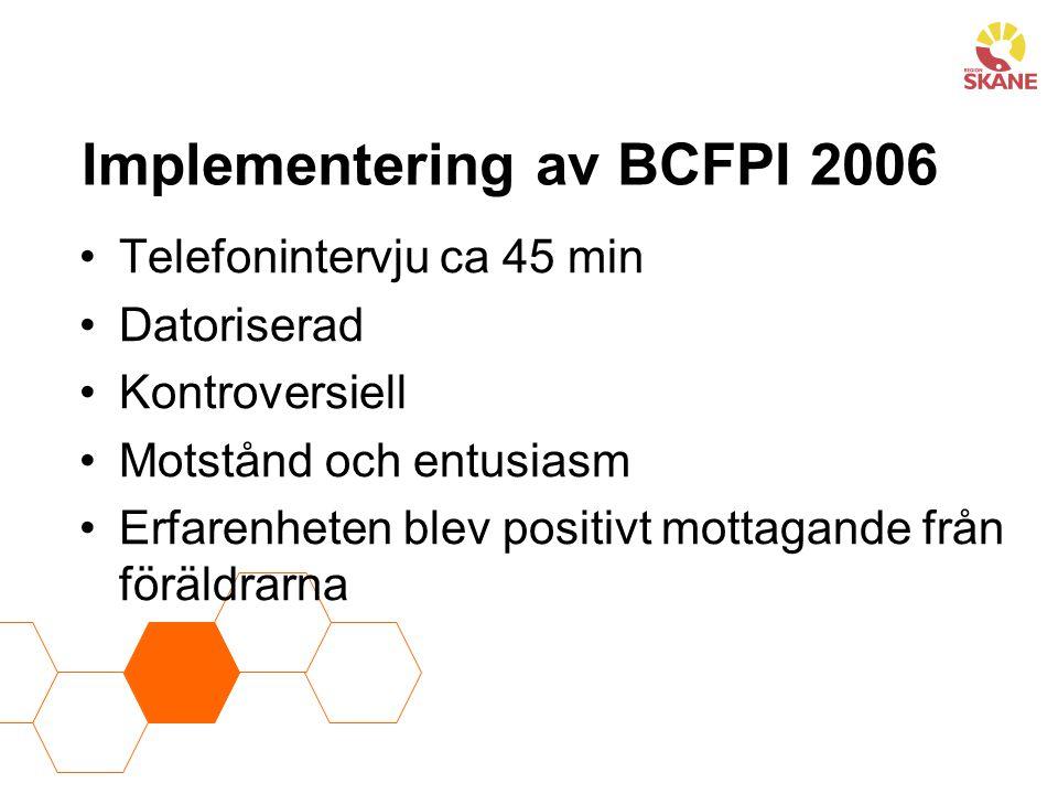 Implementering av BCFPI 2006 Telefonintervju ca 45 min Datoriserad Kontroversiell Motstånd och entusiasm Erfarenheten blev positivt mottagande från föräldrarna