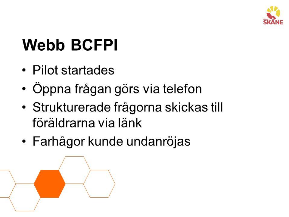 Webb BCFPI Pilot startades Öppna frågan görs via telefon Strukturerade frågorna skickas till föräldrarna via länk Farhågor kunde undanröjas