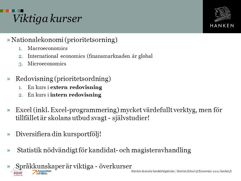 »Nationalekonomi (prioritetsorning) 1.Macroeconomics 2.International economics (finansmarknaden är global 3.Microeconomics »Redovisning (prioritetsordning) 1.En kurs i extern redovisning 2.En kurs i intern redovisning »Excel (inkl.