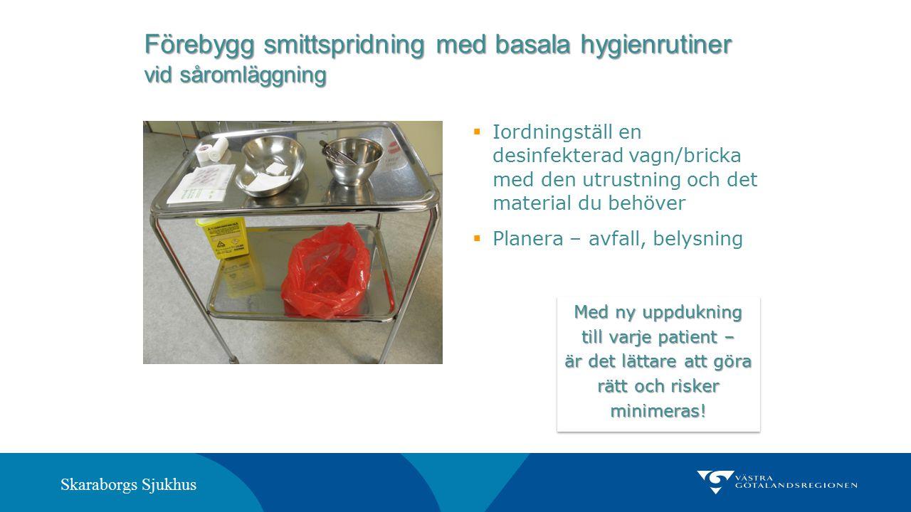 Skaraborgs Sjukhus Förebygg smittspridning med basala hygienrutiner vid såromläggning  Iordningställ en desinfekterad vagn/bricka med den utrustning
