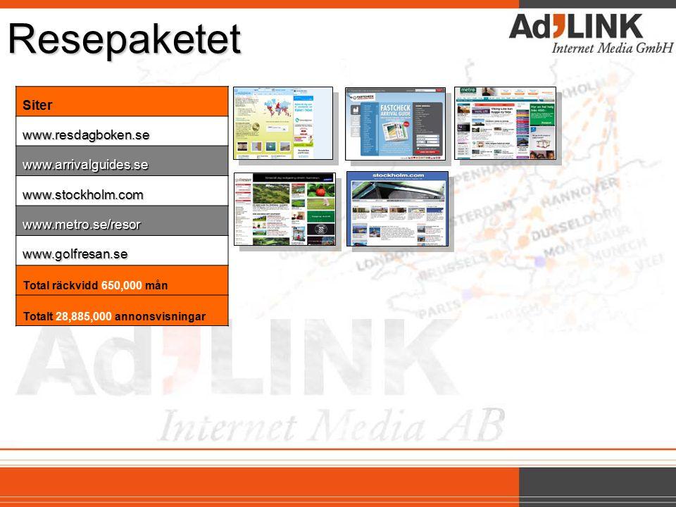 Resepaketet Siterwww.resdagboken.se www.arrivalguides.se www.stockholm.com www.metro.se/resor www.golfresan.se Total räckvidd 650,000 mån Totalt 28,885,000 annonsvisningar