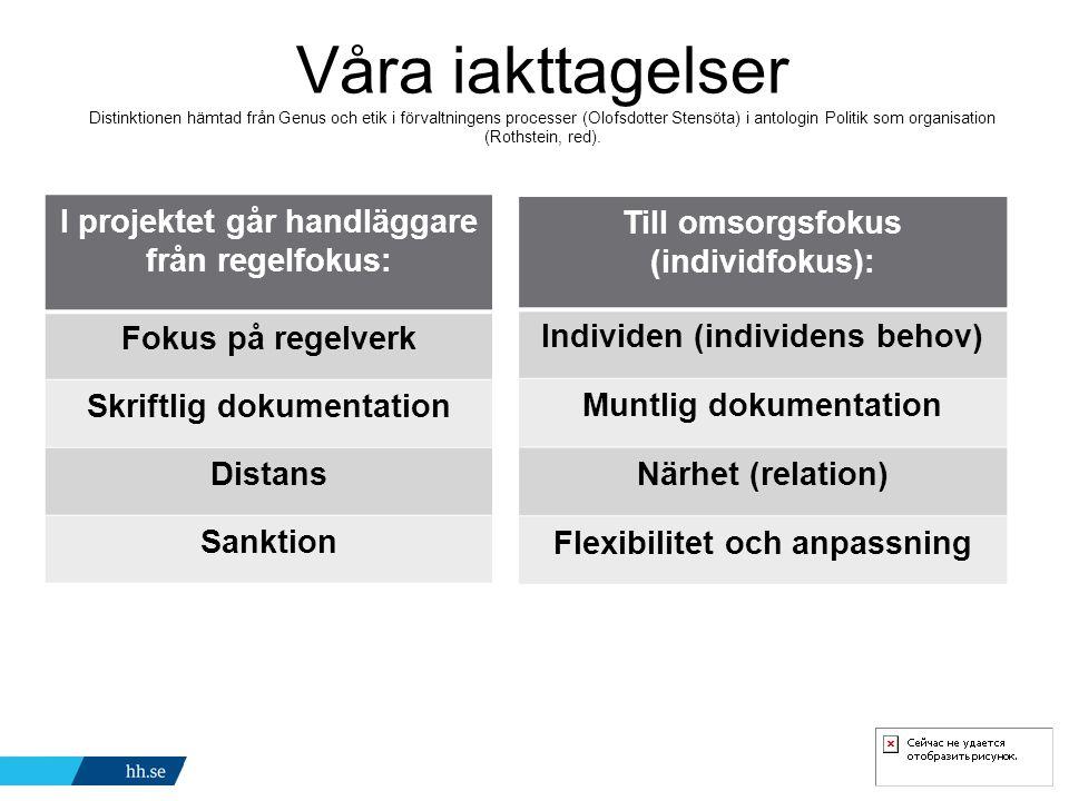 Våra iakttagelser Distinktionen hämtad från Genus och etik i förvaltningens processer (Olofsdotter Stensöta) i antologin Politik som organisation (Rothstein, red).