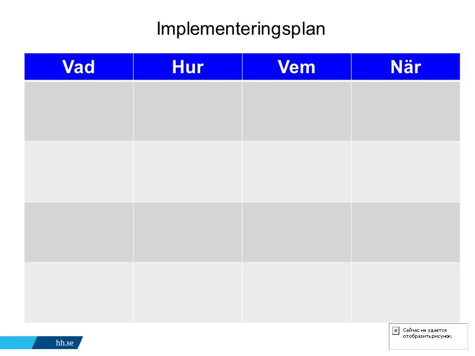 Implementeringsplan VadHurVemNär
