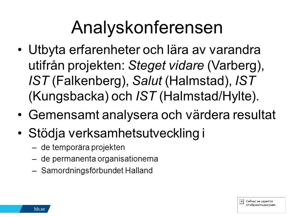 Analyskonferensen Utbyta erfarenheter och lära av varandra utifrån projekten: Steget vidare (Varberg), IST (Falkenberg), Salut (Halmstad), IST (Kungsbacka) och IST (Halmstad/Hylte).