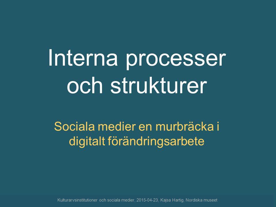 Interna processer och strukturer Sociala medier en murbräcka i digitalt förändringsarbete Kulturarvsinstitutioner och sociala medier, 2015-04-23, Kajs