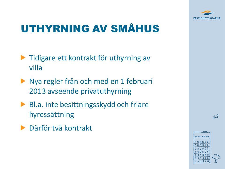 UTHYRNING AV SMÅHUS Tidigare ett kontrakt för uthyrning av villa Nya regler från och med en 1 februari 2013 avseende privatuthyrning Bl.a. inte besitt